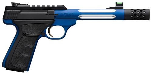 "Browning Buck Mark Lite Plus Competition Blue Flute Rimfire Semi-Auto Pistol - 22 LR, 5-9/10"", Blue Alloy Receiver, Steel Barrel w/ Fluted Alloy Sleeve, Suppressor Ready w/ Muzzle Brake, Ultragrip FX Black Rubber Overmolded Grip, 10rds, Fiber Optic Front?>"