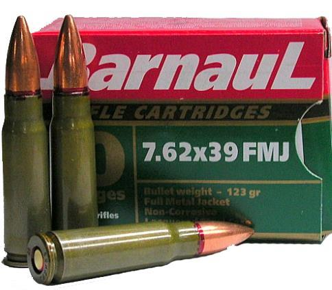 BarnauL Rifle Ammo - 7.62x39mm, 123Gr, FMJ, Lacquered Steel Case, Non-Corrosive, 500rds Case?>