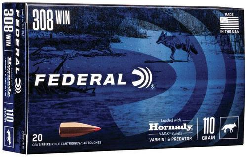 Federal V-Max Rifle Ammo - 308, 110gr, Loaded w/ Hornady V-Max Bullets, 3300fps, 20rds Box?>