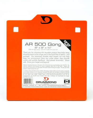 "Drummond Shooting Pop Pop Targets - AR 500 Gong, 9""x9""x3/8"", Neon Orange Powder Coat, w/Square Holes For Carriage Bolts, For 7.62x39/308/223/30-06 & More?>"