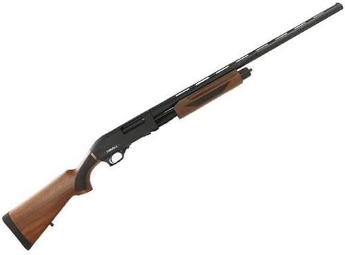 "Canuck Pioneer Pump Action Shotgun - 12ga, 3"", 28"", Chrome Lined, Vented Rib, Fiber Optic Front Sight, Wood Stock, 4rds, Mobil Choke Flush (F,M,IC)?>"