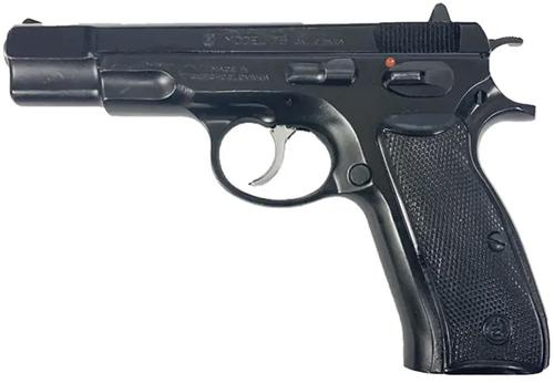 "CZ 75 Surplus DA/SA Semi-Auto Pistol - 9mm, 4.61"", Hammer Forged, Black Polycoat, Plastic Grips, 10rds, Fixed Sights?>"