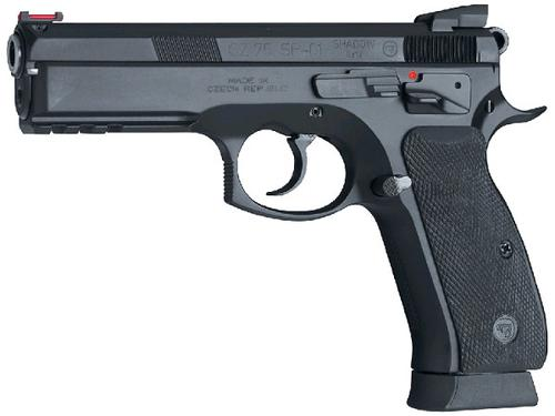 "CZ 75 SP-01 Shadow DA/SA Semi-Auto Pistol - 9mm, 4.61"", Hammer Forged, Black Polycoat, Rubber Grips, Fiber Optic Front & Fixed Rear Sights, 3x10rds, Ambi Safety?>"
