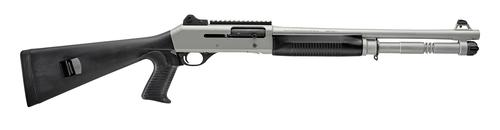 "Benelli M4 H2O Tactical Semi-Auto Shotgun - 12Ga, 3"", 18.5"", Silver Cerakote Finish, Black Synthetic Pistol Grip Stock, 5rds, Ghost Ring Sights, MobilChokes (M)?>"