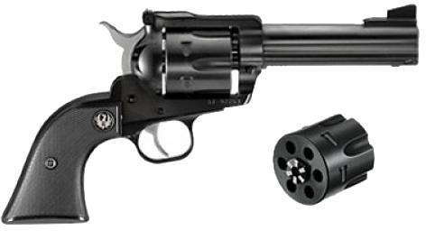"Ruger New Model Blackhawk Convertible Single Action Revolver - 357 Mag/9mm Luger, 4.62"", Blued, Alloy Steel, Black Checkered Hard Rubber Grips, 6rds, Ramp Front & Adjustable Rear Sights?>"