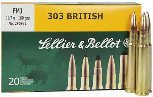 Sellier & Bellot Rifle Ammo - 303 British, 180Gr, FMJ, 20rds Box?>