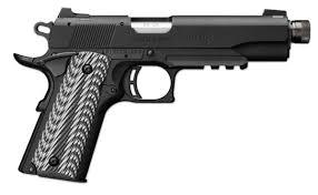 "Browning 1911-22 A1 Black Label Suppressor Ready w/Rail Rimfire Single Action Semi-Auto Pistol - 22 LR, 4-7/8"", Matte Black Aluminium Alloy Slide, Matte Black Composite Frame, Black & Grey G-10 w/Angled Serrations Grip Panels, 10rds, Dovetailed Combat Whi?>"
