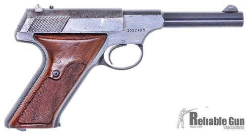 "Colt Huntsman Surplus Semi-Auto Rimfire Pistol -  22 LR, 4.5"", Blued, Fixed Sights, Wood Grips, One Mag, Blue Wear & Pitting on Left Side of Slide, Fair Condition?>"