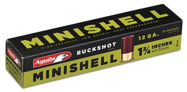 Aguila Shotgun Ammo, Mini Shells - 12ga, 4B/1B Buckshot, 1-3/4, 5/8 Load, 1200FPS, 20rds Box?>