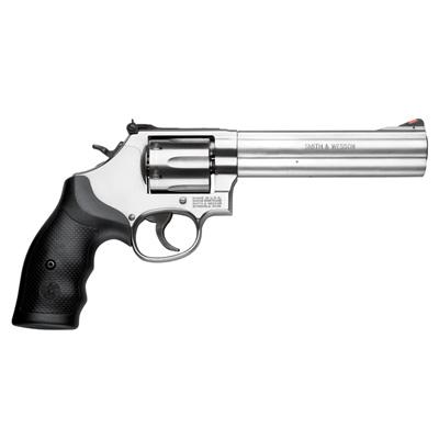 "Smith & Wesson (S&W) Model 686-6 DA/SA Revolver - 357 Mag, 6"", Satin Stainless Steel Frame & Cylinder, Medium Frame (L), Synthetic Grip, 6rds, Red Ramp Front & Adjustable Rear Sights?>"