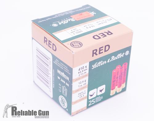 "Sellier & Bellot Hunting Shotgun Shells - Red, .410, 2-1/2"", 7/16oz, #4, Lead, 25rds box?>"