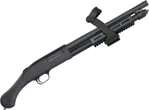 "Mossberg 500 Shock'n'Saw Pump Action Shotgun - 12Ga, 3"", 14.3"", Heavy-walled, Matte Blued, Black Raptor Grip & Aluminum MLOK Railed Forend w/ Chainsaw Grip, 5rds, Front Bead Sight, Fixed Cylinder?>"
