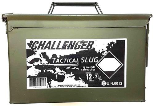 "Challenger Tactical Slug Shotgun Ammo - 12ga, 2-3/4"", Slug, 1oz, Low Recoil, 175rds Ammo Can?>"