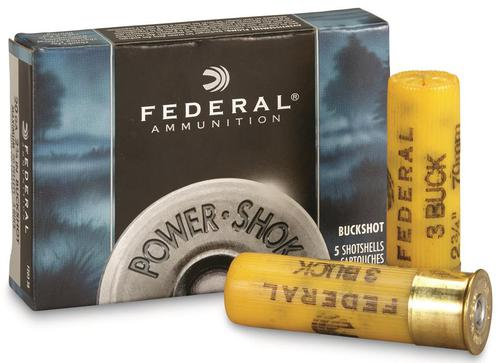 Federal Power-Shok Shotgun Ammo - 20Ga, 2-3/4'', MAX DE, #3 Buck, 20 Pellets, 1200fps, 5rds Box?>