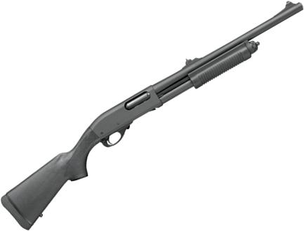 "Remington 870 Police Pump Action Shotgun - 12Ga, 3"", 20"", Parkerized, Synthetic Stock & Fore-End, 4rds, Fixed IC Choke, Rifle Sights?>"