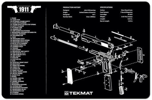 Tekmat 1911 Gunsmith's Bench Mat - Black Neoprene, with Exploded Parts View?>
