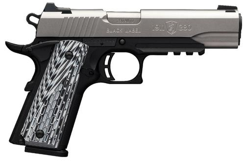"Browning 1911-380 Black Label Pro SS w/ Rail Single Action Semi-Auto Pistol - 380 ACP, 4-1/4"", Satin Stainless Finish, Matte Black Composite Frame w/Acc Rail, Grey/Black G-10 Composite Grips, 2x8rds, Combat White Dot Front & Rear Sights, Extended Ambi Sa?>"