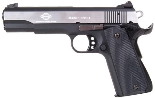"German Sport Guns (GSG) 1911 Stainless Rimfire Single Action Semi-Auto Pistol - 22 LR, 5"", Silver/Black Alloy Slide, Black Plastic Grips, 10rds?>"