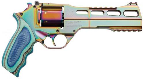 "Chiappa Rhino Nebula 60DS Revolver - 357 Mag, 6"", Multi Color PVD, Blue Laminate Grip, 6rds, w/Moonclips, Fiber Optic Front & Adjustable Rear Sights?>"