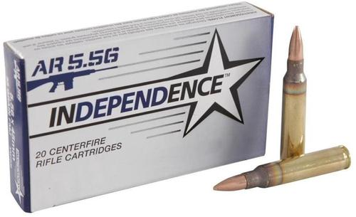 Federal Independence XM193I 5.56 NATO Rifle Ammunition, 55 gr. FMJ, 20 rd. Box?>