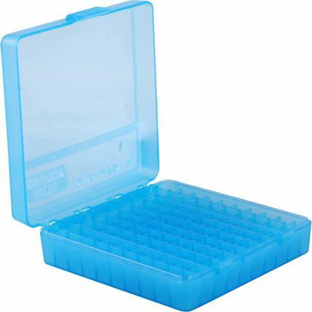 MTM Case-Gard Handgun Ammo Boxes, P-100 Series - P-100-9, 100rds, Clear Blue?>