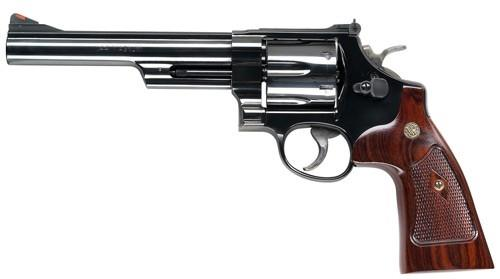 "Smith & Wesson (S&W) Model 29-10 S&W Classics DA/SA Revolver - 44 Rem Mag, 6-1/2"", Blued, Carbon Steel Frame & Cylinder, Large Frame (N), Altamont Service Walnut Grip, 6rds, Red Ramp Front & Adjustable Rear Sights, Inc. S&W Wood Case?>"