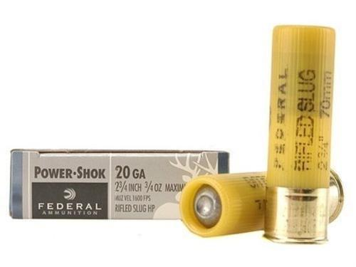"Federal Power-Shok Shotgun Ammo - 20Ga, 2-3/4"", Max DE, 3/4oz, Rifled Slug HP, 5rds Box?>"
