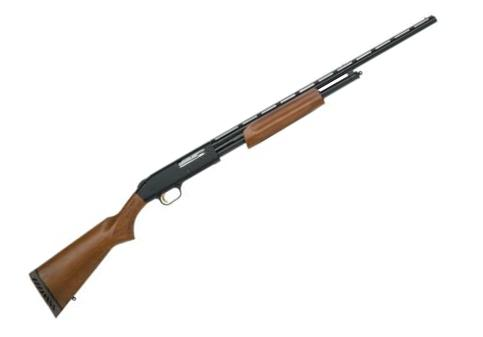 "Mossberg 500 Hunting All Purpose Field Pump Action Shotgun - 410 Bore, 3"", 24"", Vented Rib, Blued, Hardwood Stock, 5rds, Twin Bead Sights, Fixed Full?>"
