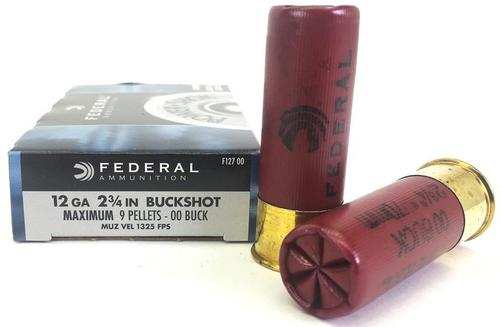 Federal Power-Shok Shotgun Ammo - 12Ga, 2-3/4'', 00 Buck, 9 Pellets, 1325fps, 5rds Box?>