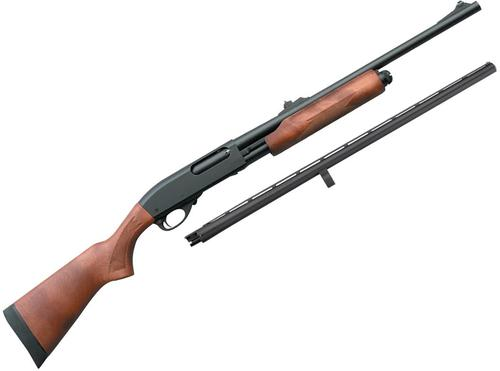 "Remington Model 870 Express Pump Action Shotgun Combo - 20Ga, 3"", 26"", Vented Rib/20Ga, 3"", 20"", Rifled, Matte Black, Satin Laminate Stock, 4rds, Single Bead Sight, Rem Choke (Modified)?>"