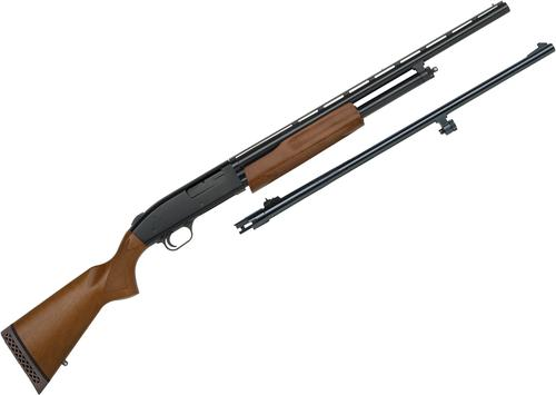 "Mossberg 500 Youth Pump Action Shotgun - Bantam Field/Deer Combo, 20Ga, 3"", Matte, Wood Stock, 6rds, 21"" Smoothbore & 23"" Rifled Barrel?>"
