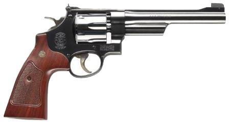 "Smith & Wesson (S&W) Classic Model 27 DA/SA Revolver - 357 Mag, 6-1/2"", Bright Blued Carbon Steel, Large Frame (N), Checkered Square Butt Walnut Grip, 6rds, Pinned Patridge Front & Micro Adjustable w/Cross Serrations Rear Sights?>"