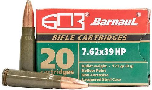 BarnauL Rifle Ammo - 7.62x39mm, 123Gr, HP, Lacquered Steel Case, Non-Corrosive, 20rds Box?>