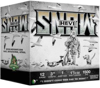 "HEVI-Shot HEVI-Snow Waterfowl Shotgun Ammo - 12ga, 3"", #1, 1-1/4oz, 1500fps, 25rds Box?>"