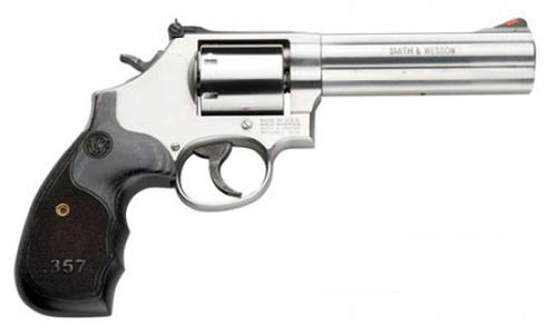 "Smith & Wesson (S&W) Model 686 Plus DA/SA Revolver - 357 Mag, 5"", Satin Stainless Steel Frame & Cylinder, Medium Frame (L), Laminate Grip, 7rds, Red Ramp Front & Adjustable White Outline Rear Sights?>"