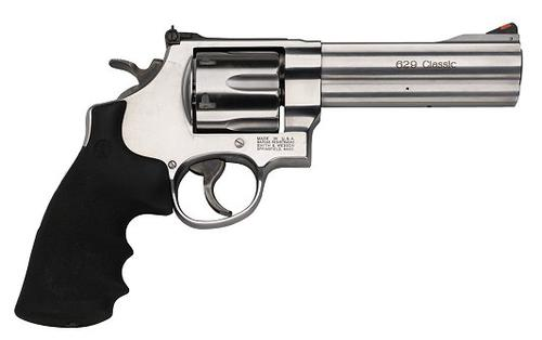 "Smith & Wesson (S&W) Model 629-6 DA/SA Revolver - 44 Rem Mag, 5"", Satin Stainless Steel Frame & Cylinder, Large Frame (N), Rubber Grip, 6rds, Red Ramp Front & Adjustable White Outline Rear Sights?>"