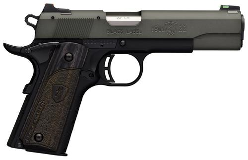 "Browning 1911-22 Black Label Gray Rimfire Single Action Semi-Auto Pistol - 22 LR, 4-1/4"",Gray Anodized Finish Brush Polished Flats Machined Aluminum Slide, Black Composite Frame w/ Checkered Front Strap, 10rds, Combat Fiber Optic Sights?>"