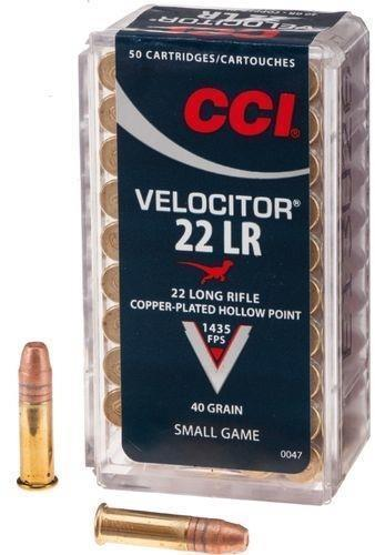 CCI Small Game Rimfire Ammo - Velocitor, 22 LR, 40Gr, Copper-Plated HP, 500rds Brick, 1435fps?>