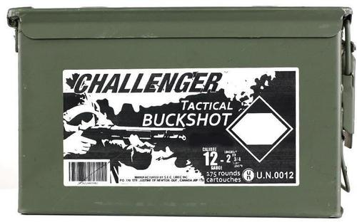 "Challenger Tactical Buckshot - 12ga, 2-3/4"", 00 Buck, 1-1/4oz, 175rds Ammo Can?>"