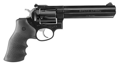 "Ruger GP100 DA/SA Revolver - 357 Mag, 6"", Blued, Alloy Steel, Hogue Monogrip Grips, 6rds, Ramp Front & Rear Adjustable Sights?>"
