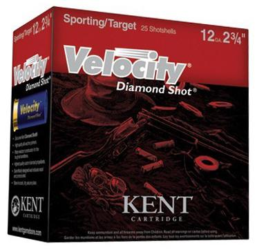 "Kent Velocity Diamond Shot Lead Sporting/Target Shotgun Ammo - 12Ga, 2-3/4"", 1oz, #7.5, 250rds Case, 1450fps, (Sporting Clay)?>"
