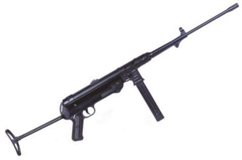 "German Sport Guns (GSG) MP-40 Semi-Auto Rifle - 9mm, 19"", Blued, Folding Metal Stock, 1x5rds, Fixed Front Post & Adjustable Rear Sights, Non Restricted?>"