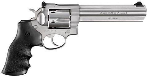 "Ruger GP100 DA/SA Revolver - 357 Mag, 6"", Satin Stainless, Stainless Steel, Hogue Monogrip Grips, 6rds, Ramp Front & Adjustable Rear Sights?>"