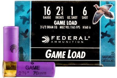 "Federal Game-Shok Upland Game Load Shotgun Ammo - 16Ga, 2-3/4"", 2-1/2DE, 1oz, #6, 25rds Box, 1165fps?>"
