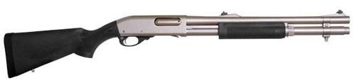 "Remington 870 Police Marine Magnum Pump Action Shotgun - 12Ga, 3"", 18"", Electroless Nickel-Plated, Synthetic Stock & Fore-End, 6rds, Fixed IC Choke, Rifle Sights?>"