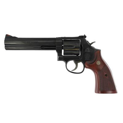 "Smith & Wesson (S&W) Classic Model 586-8 DA/SA Revolver - 357 Mag, 6"", Blue, Carbon Steel, Medium Frame (L), Wood Grip, 6rds, Red Ramp Front & Adjustable White Outline Rear Sights?>"