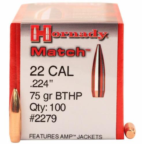 "Hornady Rifle Bullets, HP/BTHP Match - 22 Caliber (.224""), 75Gr, BTHP, 100ct Box?>"