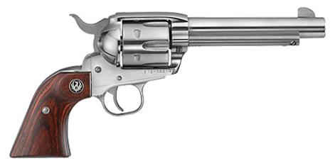 "Ruger New Vaquero Single Action Revolver - 45 Colt, 5.5"", High Gloss Stainless, Hardwood Grips, 6rds, Fixed Sights?>"