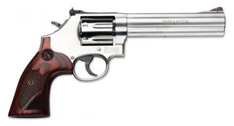 "Smith & Wesson (S&W) Model 686-6 Deluxe DA/SA Revolver - 357 Mag, 6"", Stainless Steel Frame & Cylinder, Medium Frame (L), Textured Wood Grip, 7rds, Red Ramp Front & Adjustable White Outline Rear Sights?>"