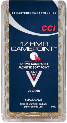 CCI Small Game Rimfire Ammo - Gamepoint, 17 HMR, 20Gr, JSP, 50rds Box, 2375fps?>